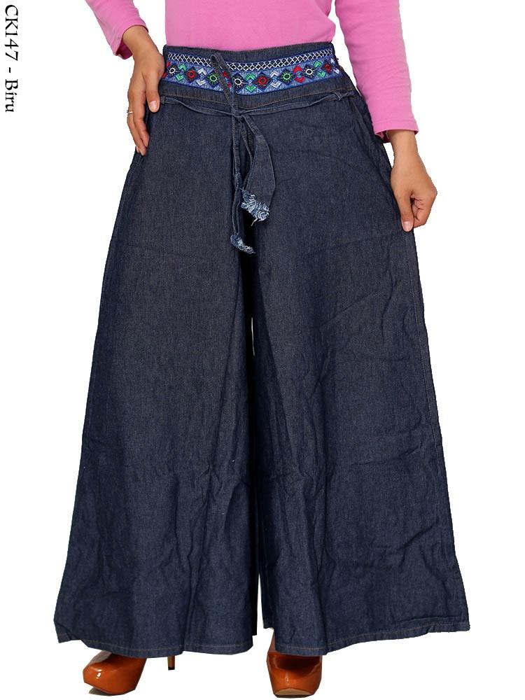 Ck147 Celana Kulot Jeans Bordir Busana Muslim Murah
