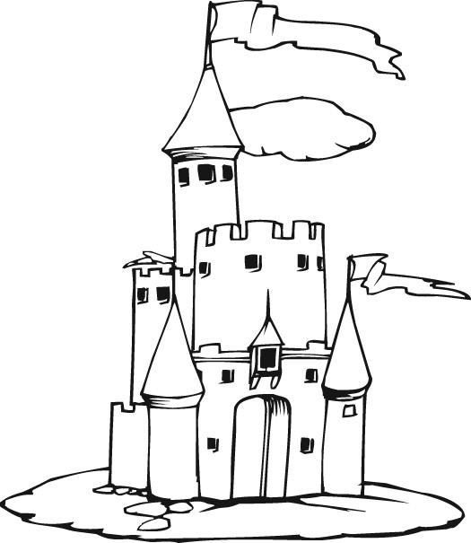 Castillo Mediaval para colorear y pintar | Dibujos para Colorear Gratis