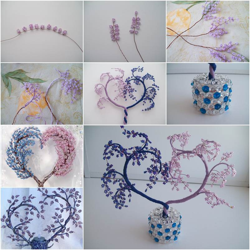 How to make heart shaped beaded decorative tree crazzy craft for How to make beads craft