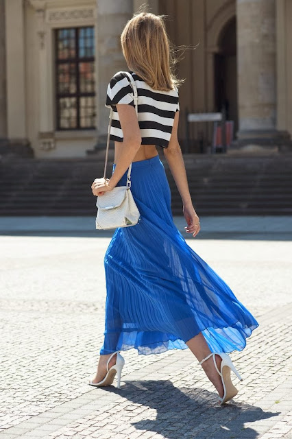Black And White Stipes With Long Skirt
