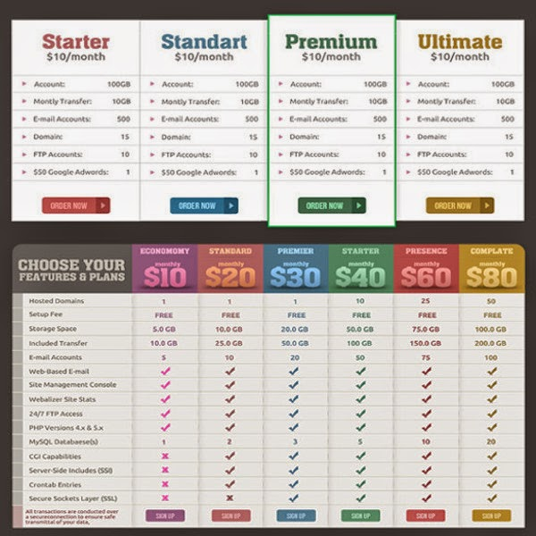 Pricing tables & banners: free web design resources