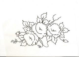 desenho de rosas para pintura tecido