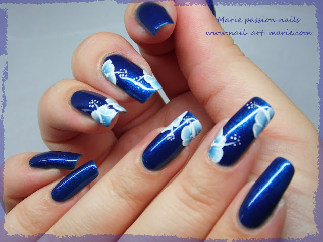 nail art one stroke double accent nail2