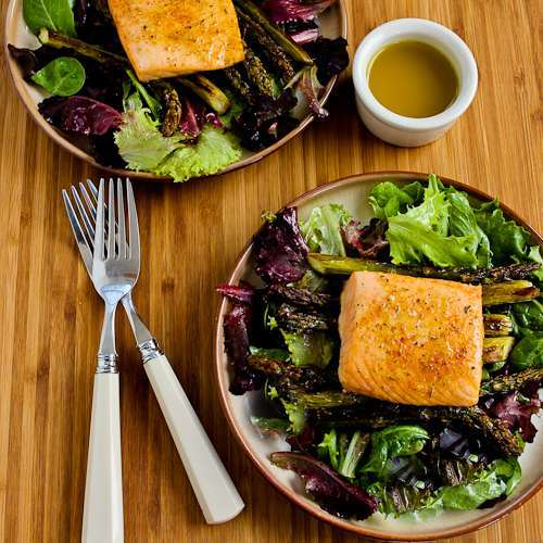 Roasted Salmon and Asparagus Salad with Mustard Vinaigrette