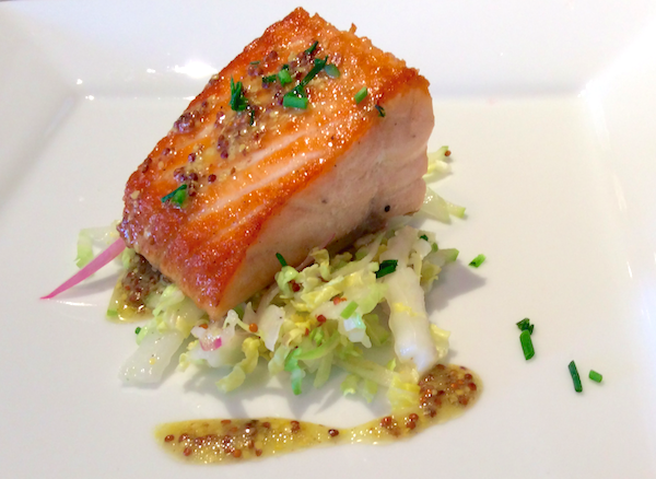 Graham Elliot's Pan-Seared Salmon With Cabbage Slaw and Whole-Grain Mustard