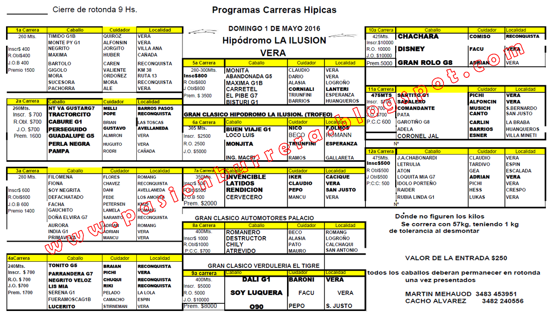 VERA - 1 DE MAYO - PROGRAMA
