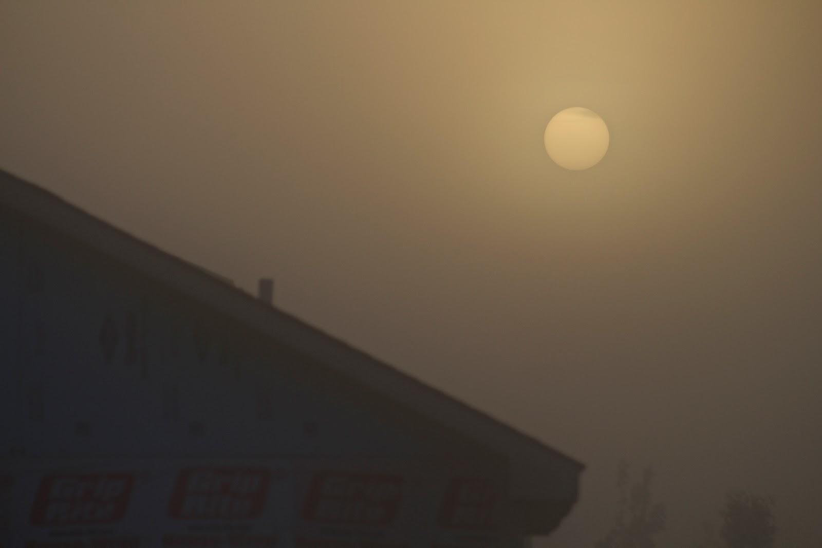 sun looks orange ball fog sunrise