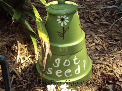 Eclectic Red Barn: Got Seed?  Painted on Clay Pot