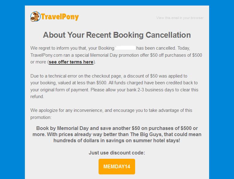 anulowanie rezerwacji travelpony MEMDAY14