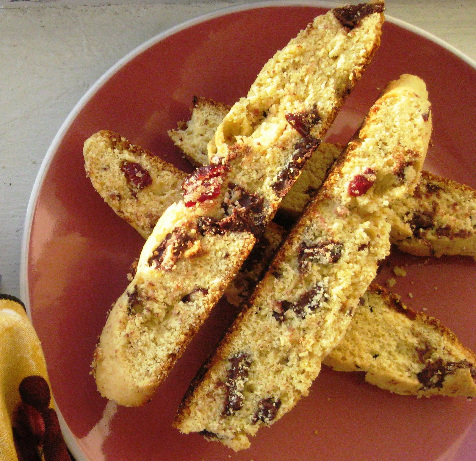 Lovely Ache: Cornmeal Biscotti with Dried Fruit and Chocolate