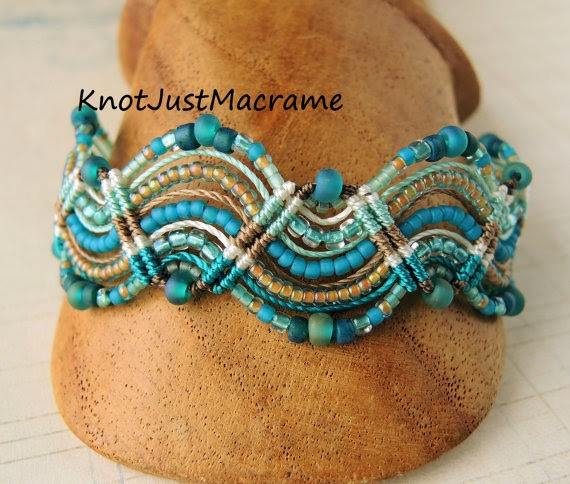 Waves of teal micro macrame bracelet beach style