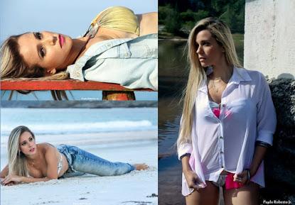 """A modelo Caroline Monteiro fala sobre """"Book Rosa e de sua participação no Domingão do Faustão."""