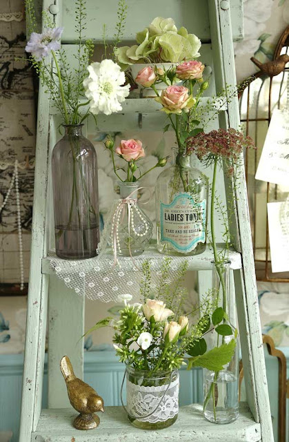 old step ladders as decoration