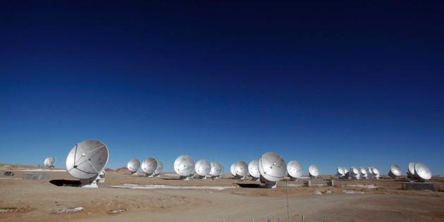 Radio antennas at the Atacama Large Millimeter/submillimeter Array have stopped gathering data because of a workers' strike. Credit: ALMA (ESO/NAOJ/NRAO), C. PADILLA