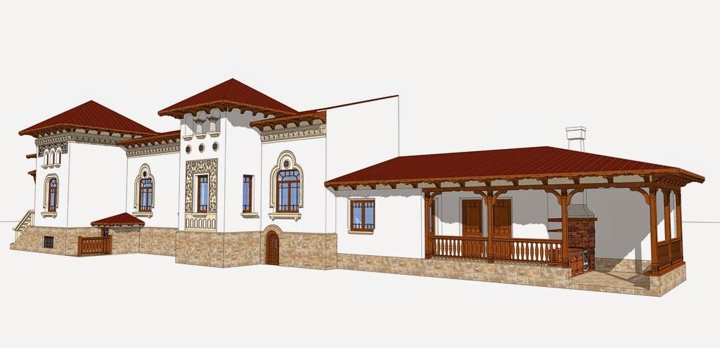 stil neoromanesc realizat de arhitect adrian paun cu ornamente arhitecturale din polistiren