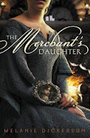 book cover of The Merchant's Daughter shows a young woman in a brocaded blue dress sitting by a fire holding a hand mirror reflecting the image of a scarred man
