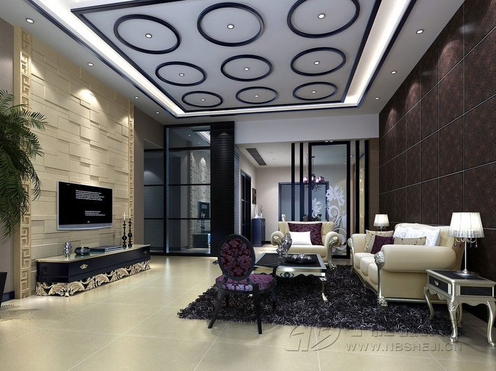 unique suspended ceiling interior design for living