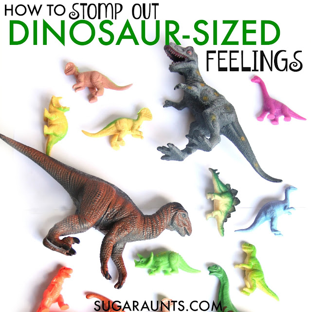 Dinosaur themed sensory (proprioception) heavy work activities for organizing and calming sensory input. This is perfect for a child who seeks out sensory stimulation.