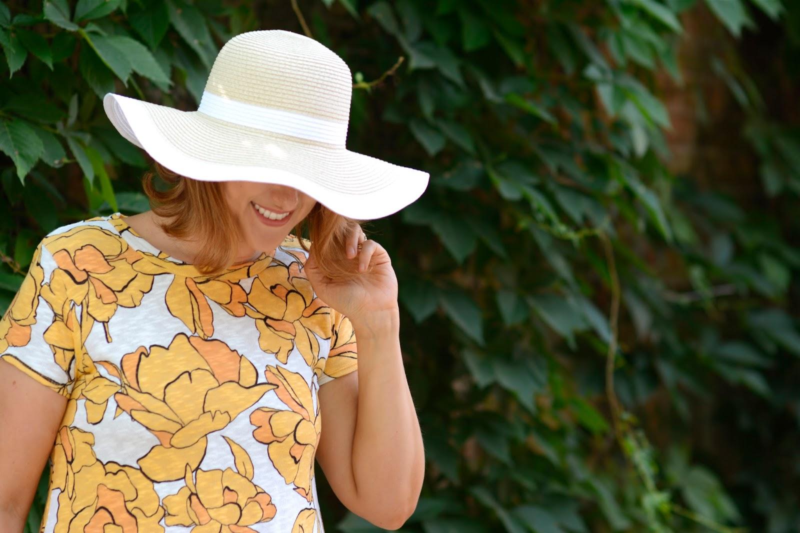 sun, hat, wide, brim, floppy, hat, yellow, dress, zara