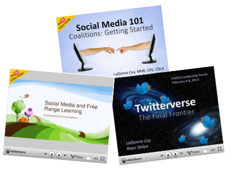 Three cover images to social media workshops by Coy-Shilen, Social Media 101, Social Media and Free Range Learning and Twitterverse.