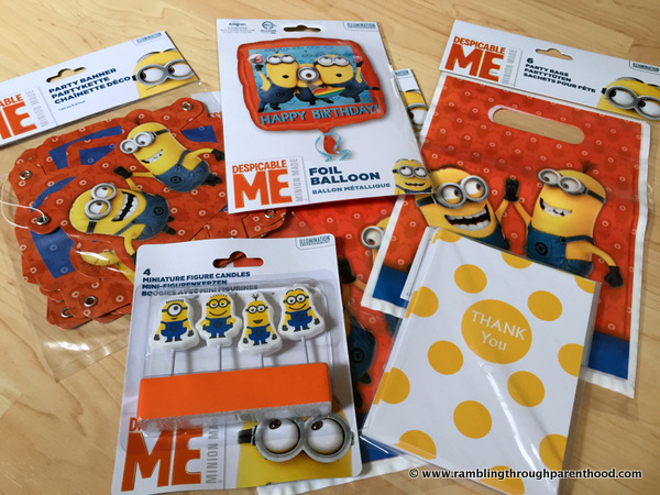 Minion-themed birthday goodies from Party Bags and Supplies