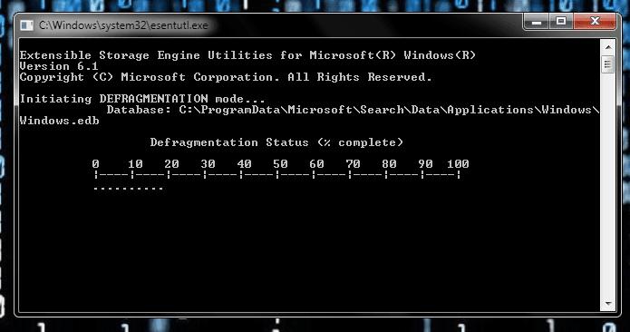 Defragmentar el índice de Windows