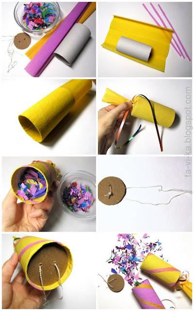 как сделать хлопушку из рулончика туалетной бумаги