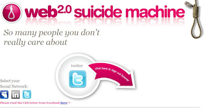"""¿Cansado de estar actualizando tus redes sociales? ¿Harto de las notificaciones en Facebook, de estresarte por Twitter? Esta página es la solución para tí. Es la """"máquina del suicidio"""" 2.0, un lugar donde puedes salirte definitivamente de todas tus cuentas en redes sociales, desde la arcaica MySpace hasta LinkedIN. En http://www.suicidemachine.org/ el usuario introduce su login y su password y simplemente ve como su historia en las redes sociales es, realmente, historia antigua. Sí, también puedes hacer el trabajo de manera manual e ir muriendo en cada uno de los sistemas en que estas registrado, pero este sitio lo hace"""