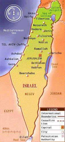 un mapa de israel