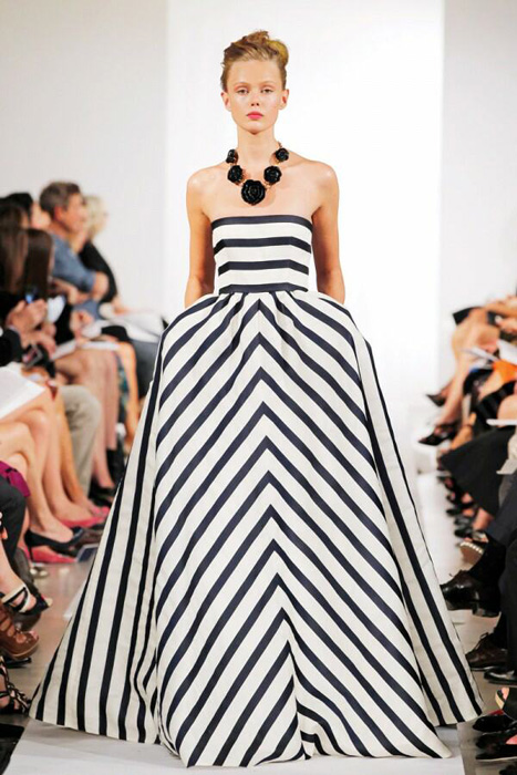 Summer Wind Black And White Striped Gown