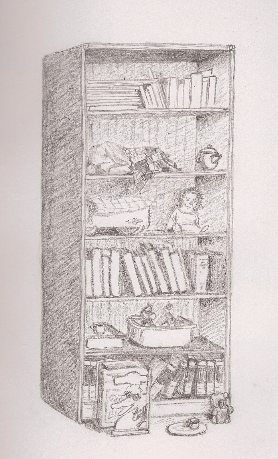 This Is A Drawing Of Bookshelf With Toys And BooksYou Might Recognize Some The From Earlier Blog Posts