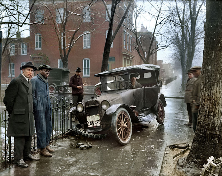 Auto Wreck in Washington D.C, 1921.