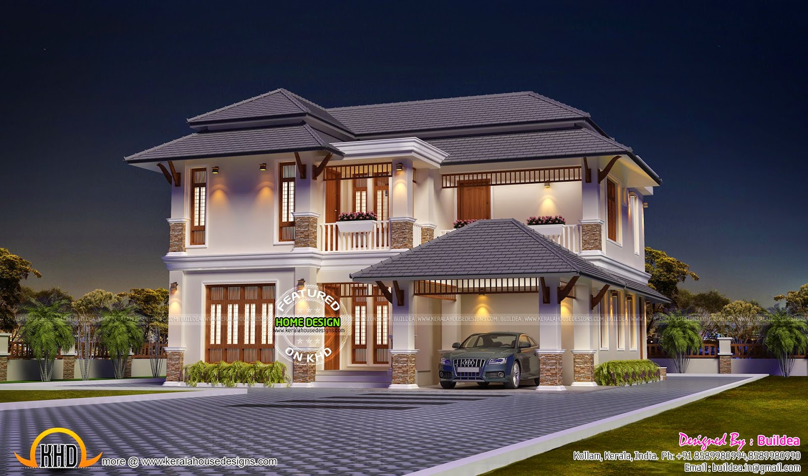 4 Bedroom Modern Villa Night View Kerala Home Design And