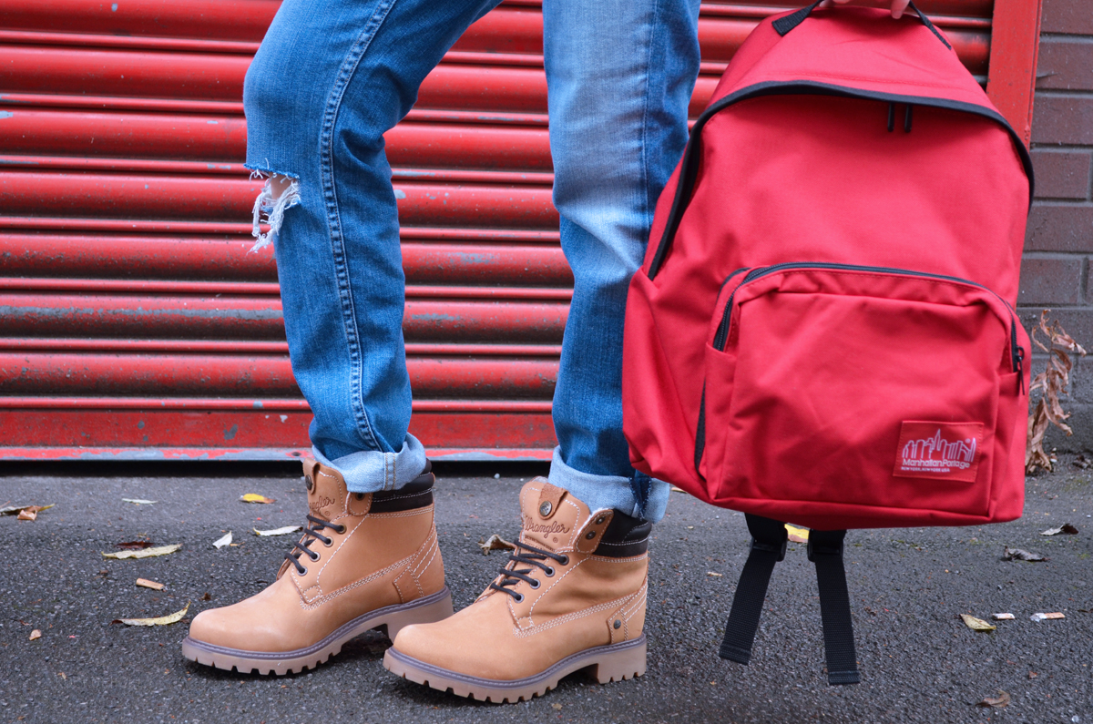 Wrangler Boots and Manhattan Portage Backpack