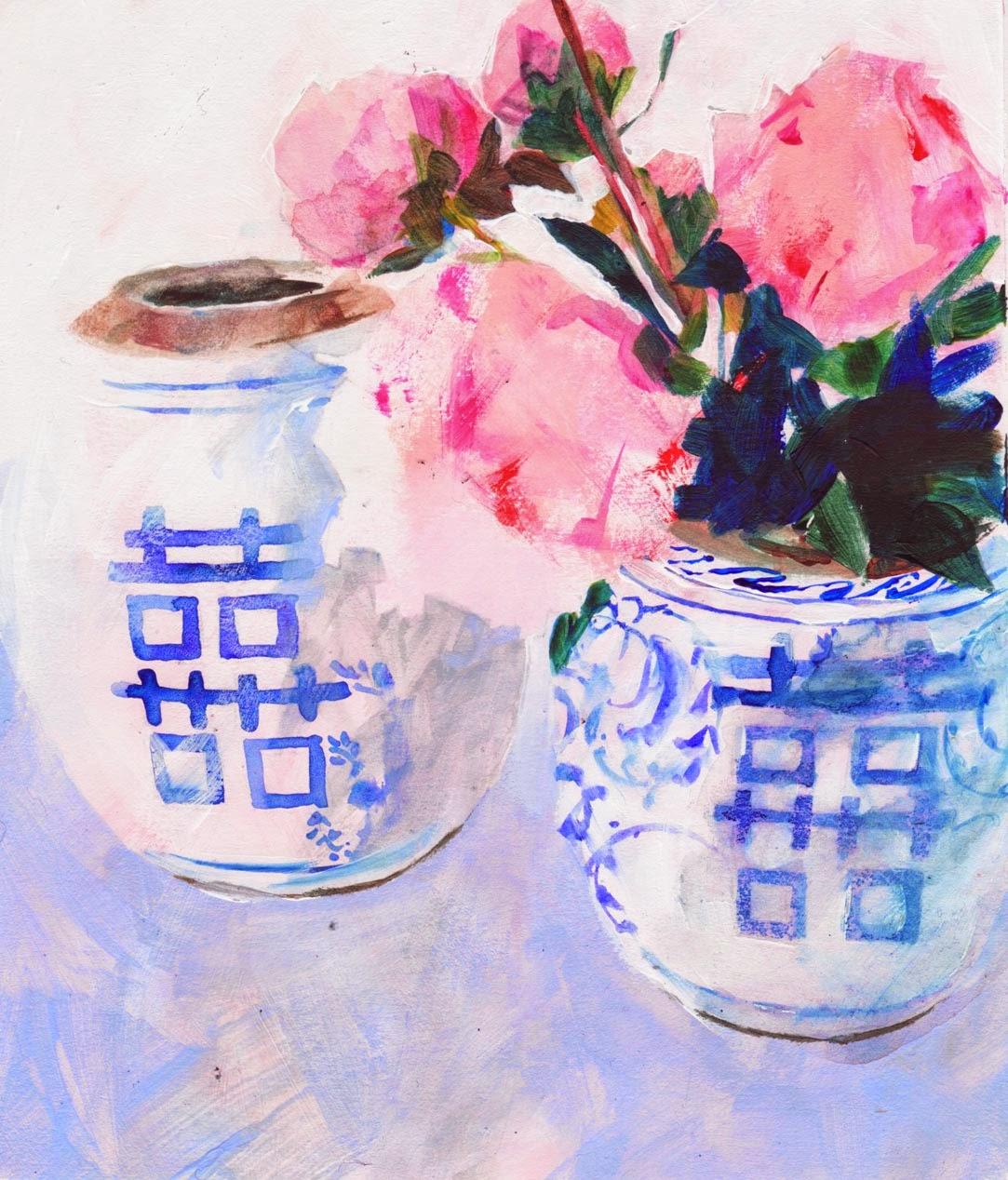 Peony in china vase