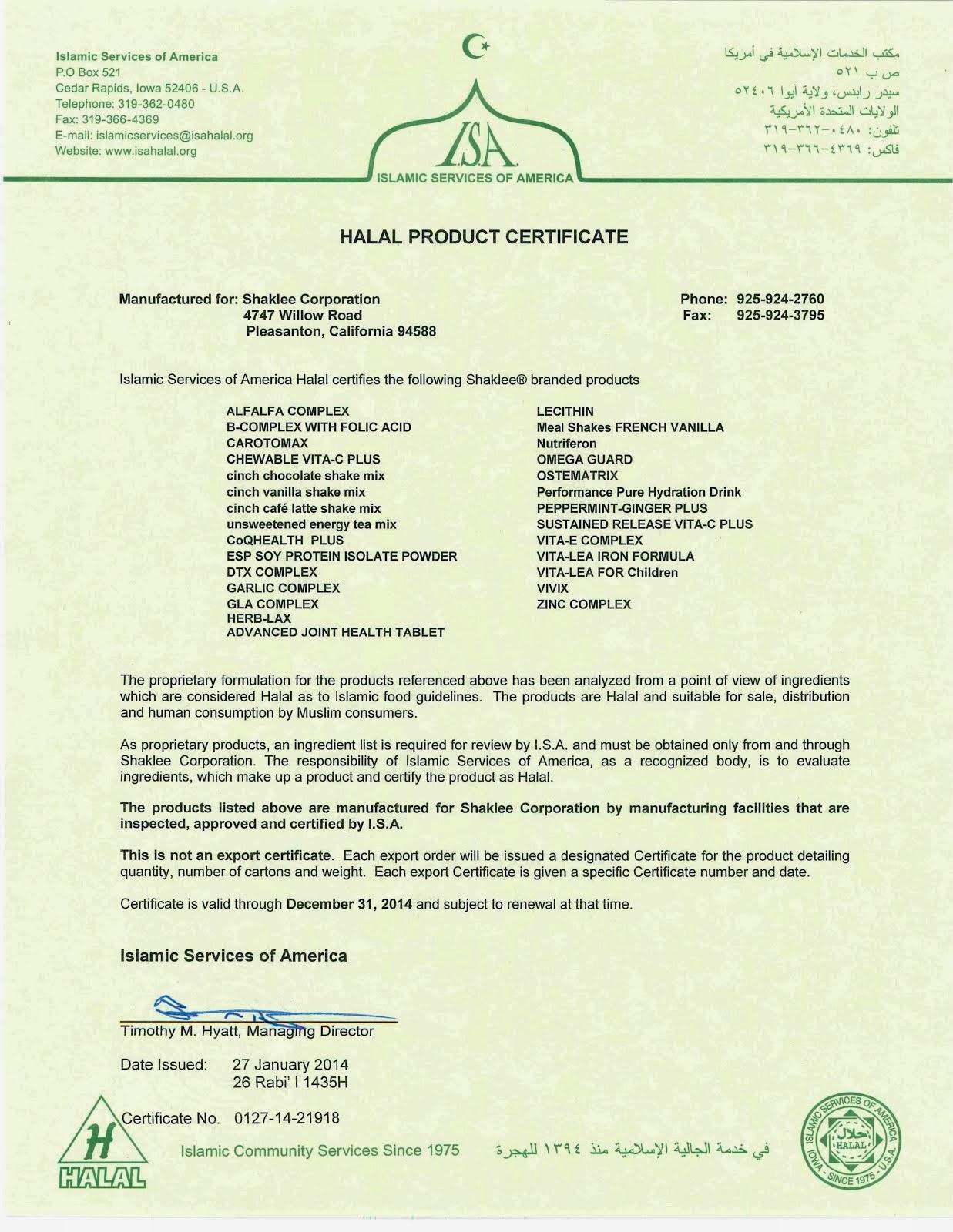 Shaklee HALAL Certificate 2014