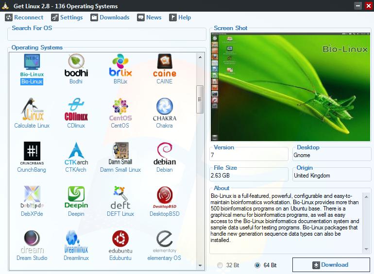 برنامج مجانى للعثور على وتحميل جميع إصدارات نظام التشغيل لينوكس اكثر من 136 نظام مختلف Get Linux 3.1
