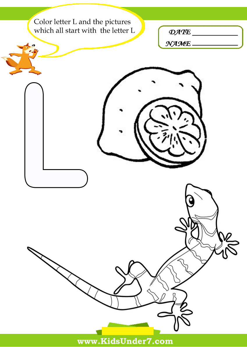 Kids Under 7 Letter L Worksheets and Coloring Pages – L Worksheets