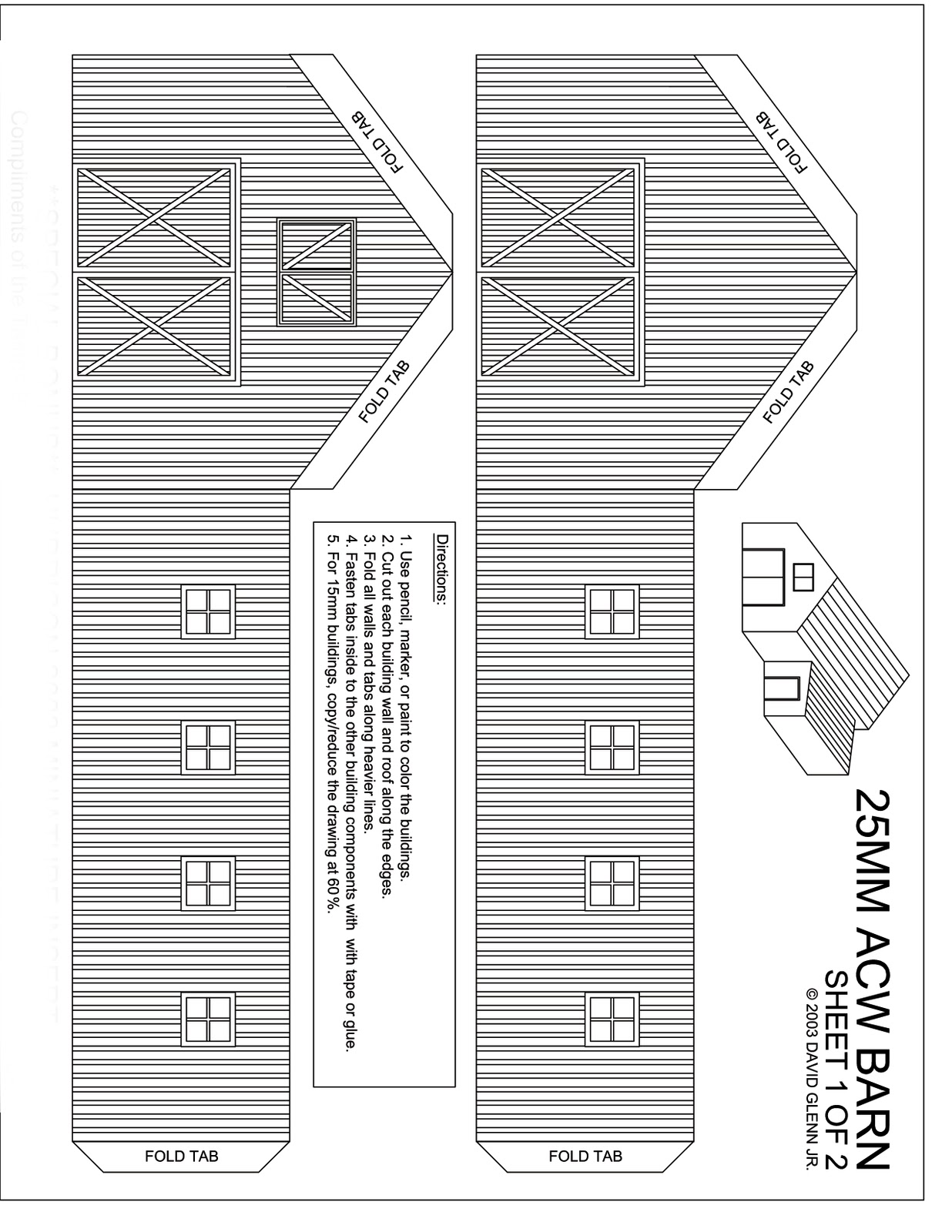 Barn Template 25mm acw wood and stone barns