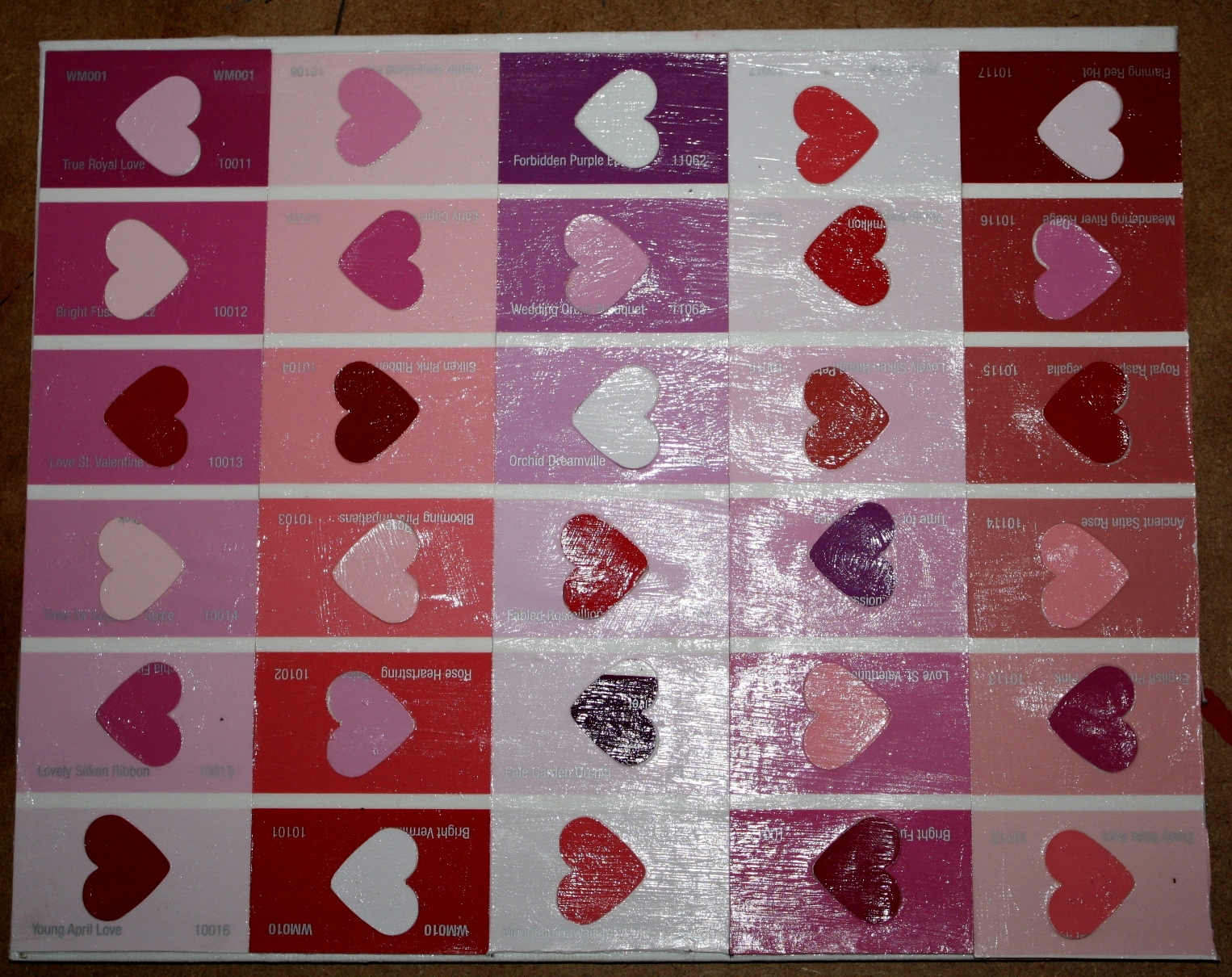 valentine paint chip bookmarks