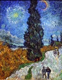 Caminho de ciprestes sob o céu estrelado - 1890