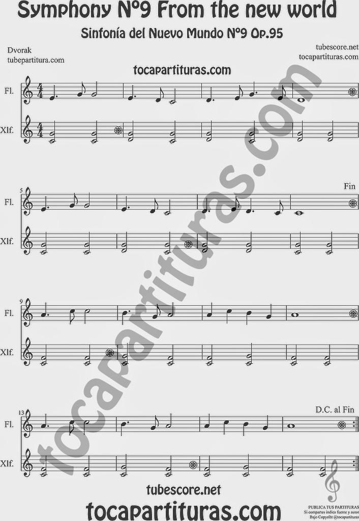 Largo de la Sinfonía del Nuevo Mundo o Sinfonía nº 9 de Dvorak Partitura para Flauta y Xilófono (Metalófonos y Xilófonos) en acompañamiento New World Simphony