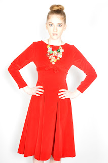 Vintage 1950's long sleeved red velvet party dress.
