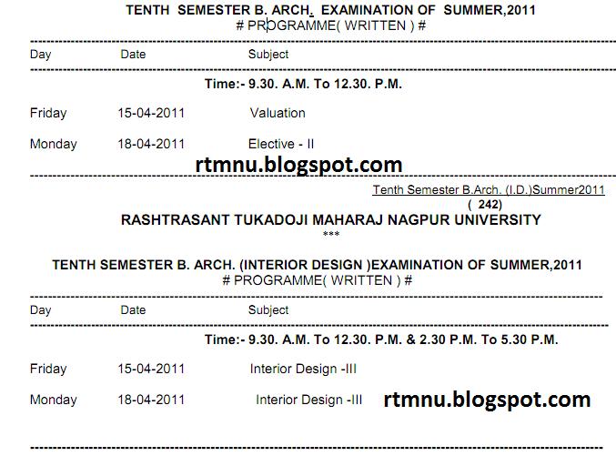 Nagpur university 39 s home tenth semester b arch for Rtmnu time table 4th sem
