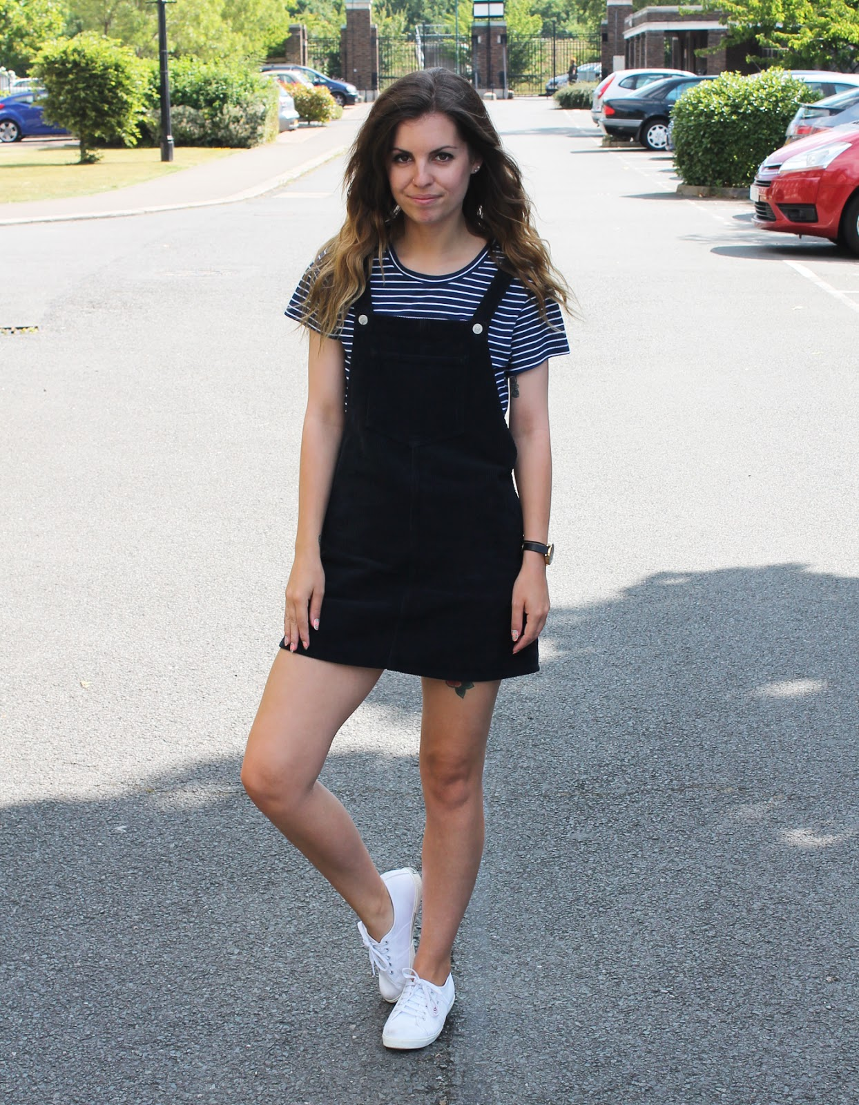 Sweet Monday outfit, ootd, Topshop Moto cord pinafore dress