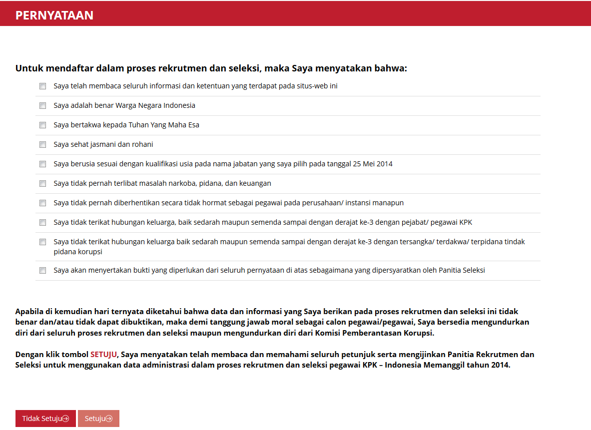 Pernyataan Pendaftaran pegawai KPK
