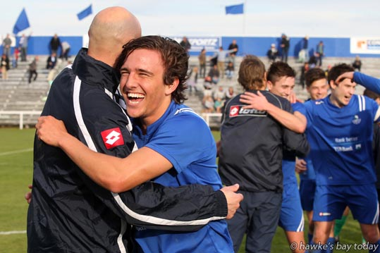 Harry Morton celebrates after Napier City Rovers beat Palmerston North 4-1 to win the Central League Cup - soccer, football at Park Island, Napier. photograph