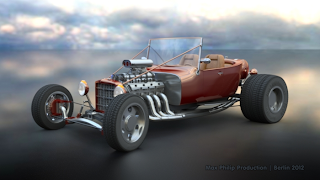 Hot Rod front view left rendered with iray