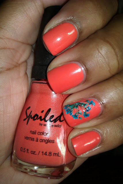 Spoiled, coral, dried flowers, teal, nail art, mani