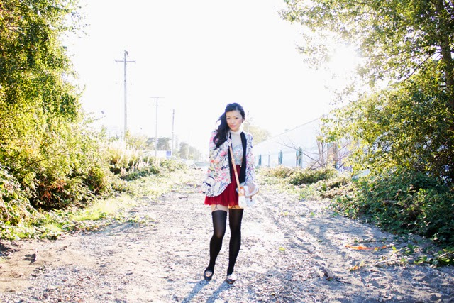 floral blazer, red skirt, vancouver fashion blogger